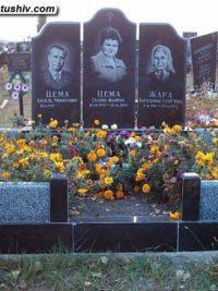 Тройний пам'ятник з граніту ТМ-001